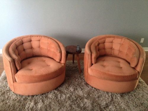 Milo Baughman Swivel Barrel Club Chairs Pair | EBay