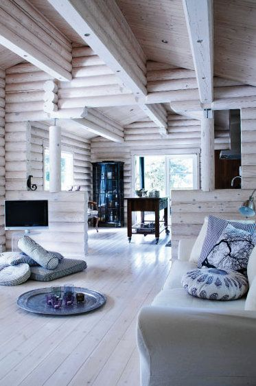 white-washed log cabin, neat!!