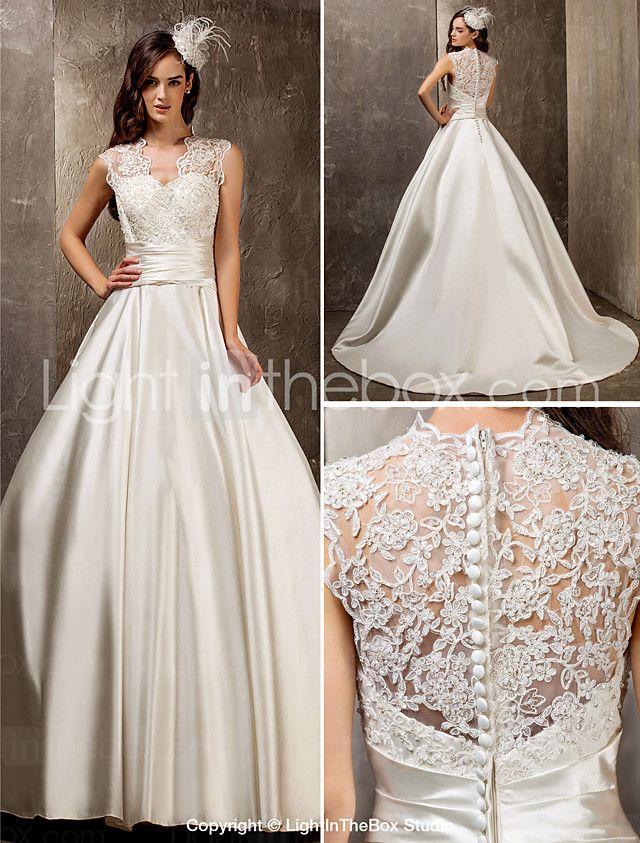 Lanting noiva A-Line / Princess petite / mais tamanhos de casamento vestido-sweep / queen trem escova anne laço / cetim de 2016 por R$571.46