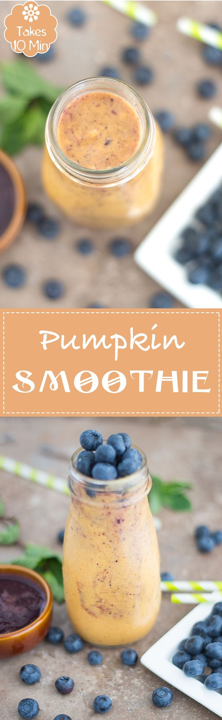 Vegan Pumpkin Smoothie Made with Coconut Milk with Cinnamon and Nutmeg to Make it Festive.  Make Blueberry Syrup at Home to Add to the Smoothie | Pumpkin recipes, pumpkin smoothies, breakfast smoothies, easy smoothies, fruit smoothies