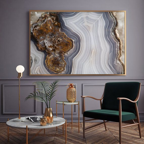 Mineral Photography - (Print # 056)  Agate Slab - Choose  Fine Art Print or Canvas- Mineral Geode Agate Decor