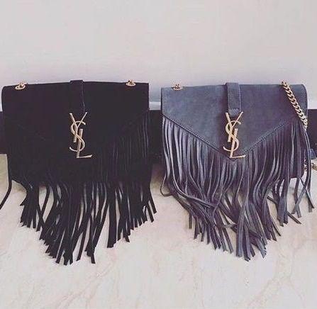 Yves Saint Lau Monogram Serpent Medium Fringed Leather Shoulder Bag Haute Handbags Thr33 In 2018 Bags Purses
