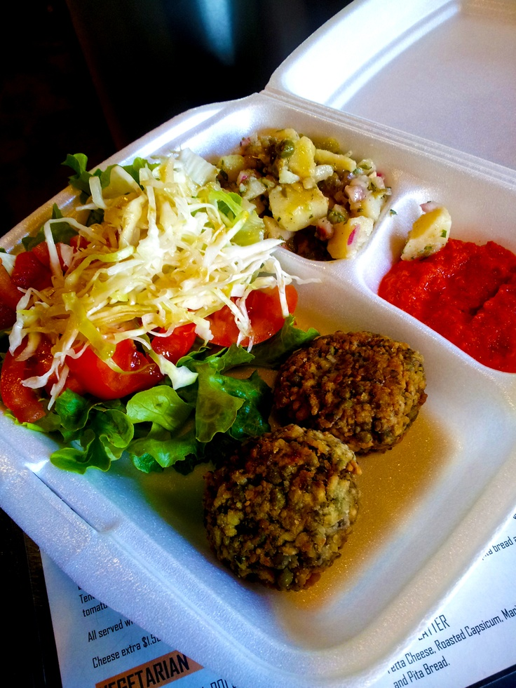 YUMMY vegan salad platter with mungbean falafels...love our Yirros man... he's Eastend Yirros!!!! the best!!!