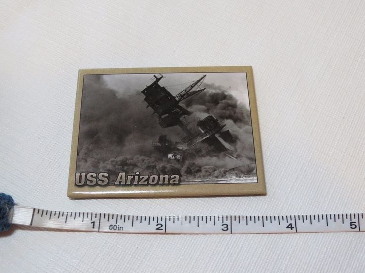Magnet USS Arizona Sunk & Burning Pearl harbor Dec 7, 1941 battleship Military