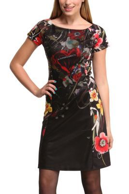 Desigual women's Lara dress. A knitted dress with layers of tulle and flowers. Ah, and a heart in the centre! The perfect dress for nights out this autumn-winter.