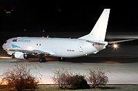 ASL Airlines Belgium Boeing 737-48E(SF) OE-IAX aircraft, skating at Germany Erfurt International Airport. 29/11/2016.