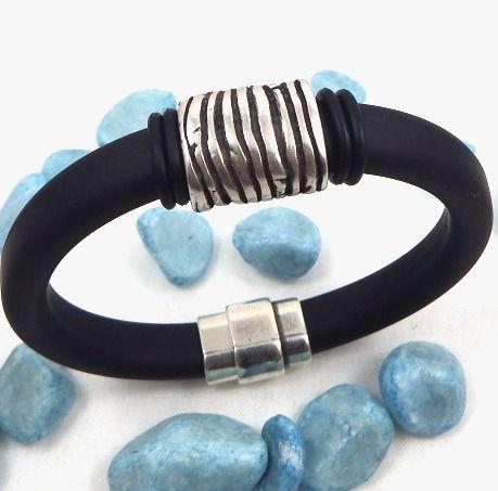 kit tutoriel bracelet cordon regaliz noir homme rustique fermoir plaque argent : Kits, tutoriels bijoux par bijoux-giuliana