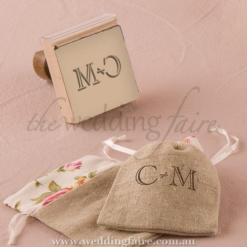 Burlap Chic Monogram Personalised Rubber Stamp - The Wedding Faire  Design your own personalised stamp to use on everything from your wedding invitations to your favour bags.  5.1cm (W) x 6cm (D) x 7.3cm (H)  Rubber (stamp pad) and wood (handle)  Ink pad not included  The design measures 2 inches x 2 inches