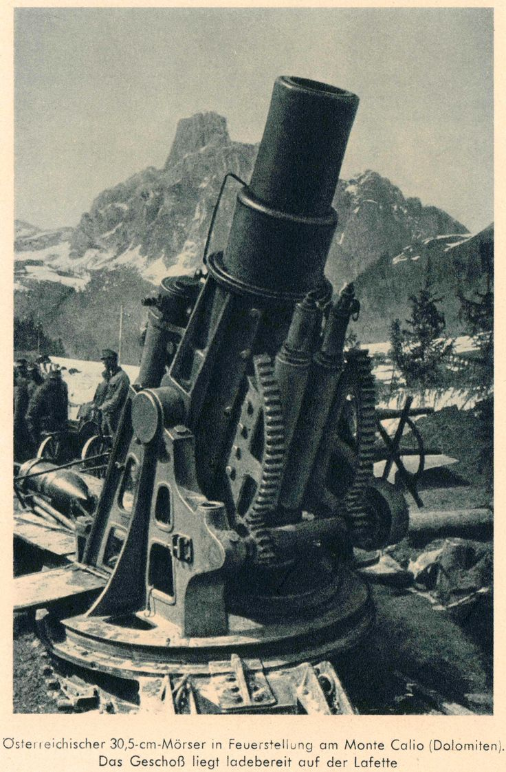 Austrian 30,5-cm Mortar in the Dolomites, Monte Calio.