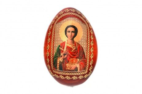 "EASTER EGG SAINT PANTALEON (2 3/8 INCH). An Orthodox Christian Easter Egg made of finewood with the image of the Icon of ""St. Pantaleon the Great Martyr and Physician"".  Pantaleon the Great Martyr is venerated in the Orthodox Church as a formidable saint, the patron of soldiers. #bible #christianity #church #easter #eggs #icon #orthodox #mascot #religion #souvenir #gift #catholic #handmade"