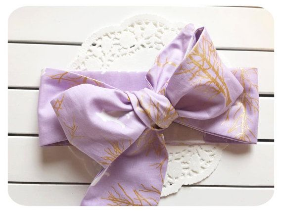 Baby Headwrap Purple and Gold Print Head wrap by AllureHandmade