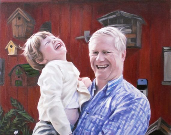Custom Family Portrait Painting from photo Christmas Gift Idea Home Decor by AnastassiaArt Etsy