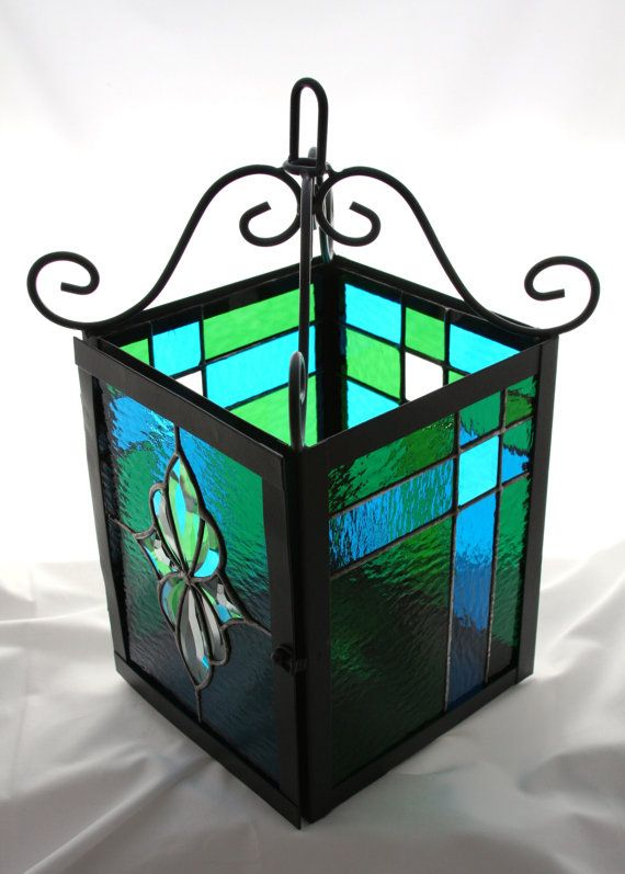 Turquoise and Green Stained Glass Wrought Iron Lantern