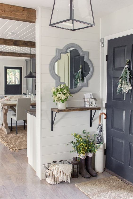 Farmhouse decor, milk jug, dairy milk jug, flowers, vase, hydreaneas, flowers, floral arrangement, Home decor, home, entryway, front door, mirror, shiplap, umbrella holder, open concept, home decor, wall decor, basket, DIY decor, lights, #light #lighting