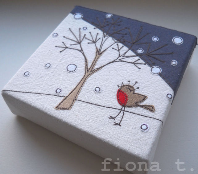christmas winter robin embroidery