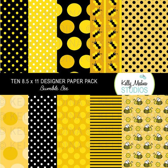 Black Bumble Bee >> Bumble Bee Yellow and Black - Designer Paper Pack ...