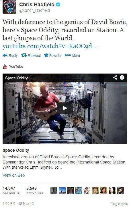 Chris Hadfield, David Bowie e o primeiro clipe feito no espaço
