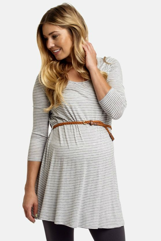 This striped maternity top with a woven belt is sure to become everyone's favorite classic this cool season. Versatile colors and a flattering silhouette allow you to pair this with countless looks for the perfect autumn ensemble.