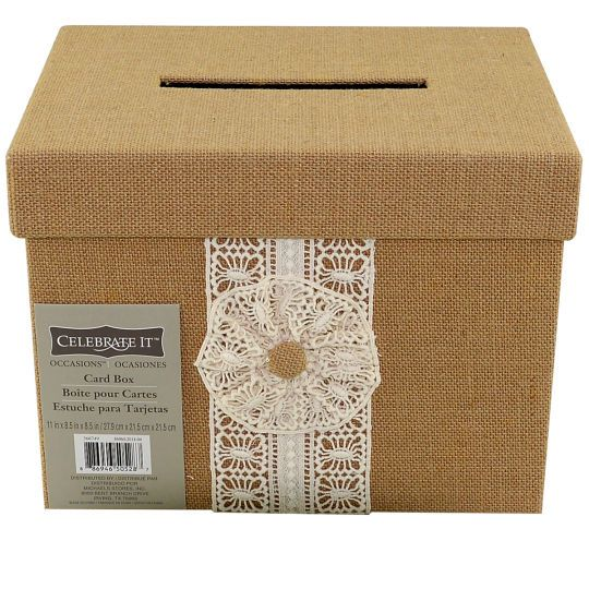 <div><div>Natural-colored burlap box has an ivory lace overlay and an opening on top of the box ...