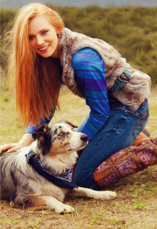 Deborah Ann Woll with a Australian Shepard-- could this picture be anymore awesome?!!