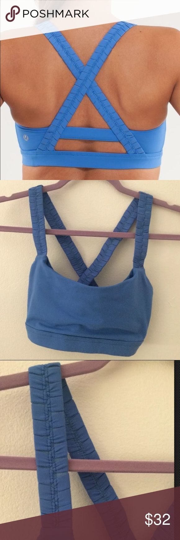 "Lululemon Blue Inner Heart Bra Size 6 Lululemon Blue Inner Heart Bra Size 6. Cute cross back. Laying Flat measures approximately 12.5"" wide, 12"" long lululemon athletica Intimates & Sleepwear Bras"