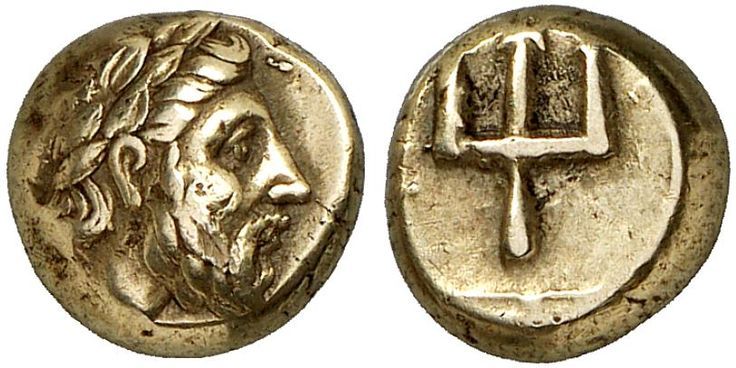 EL Hekte. Greek Coin, Lesbos, Mytilene. Circa 340 BC. 2,53g. Weber Coll. 5639, Good VF. Price realized 2011: 3.000 USD.