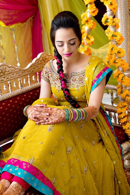 anarkali: colours can change according to the function - Yellow, fuchsia, and blue (Sangeet sagan) + red, green, gold (shaadi)