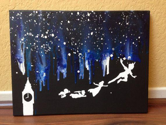 Peter Pan, Wendy, John et Michael et horloge main peint sur toile ❥Please remarque que limage est une représentation de la pièce que vous recevrez.