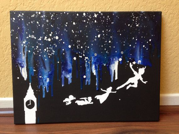 Peter Pan, Wendy, John and Michael, and clock hand painted on to canvas    ❥Please note that the picture is a representation of the piece you will