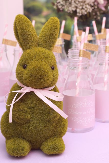 Pink milk bottles at a Pink Fairies Birthday Party!  See more party ideas at CatchMyParty.com!