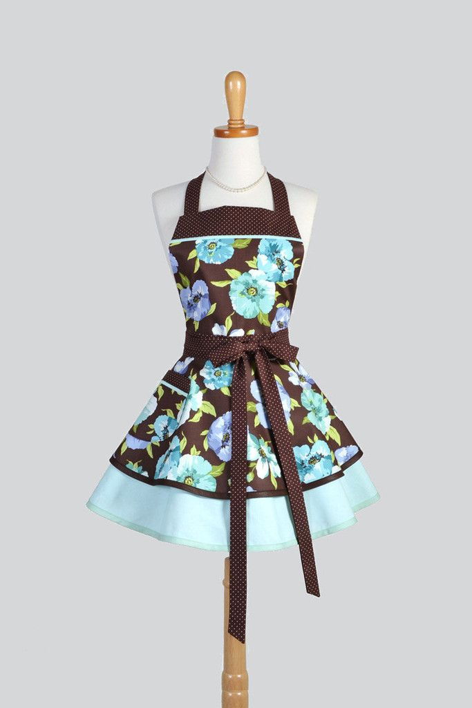 Ruffled Retro - Vintage Style Large Floral in Teal Blues and Chocolate Brown Apron - Creative Chics - 1