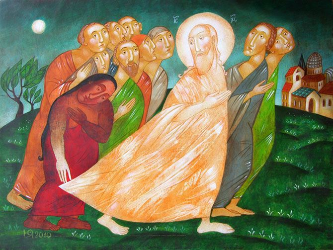 The Healing of a Sick Woman by Bulgarian Artist Julia Stankova (painting on wood panel; 2010)