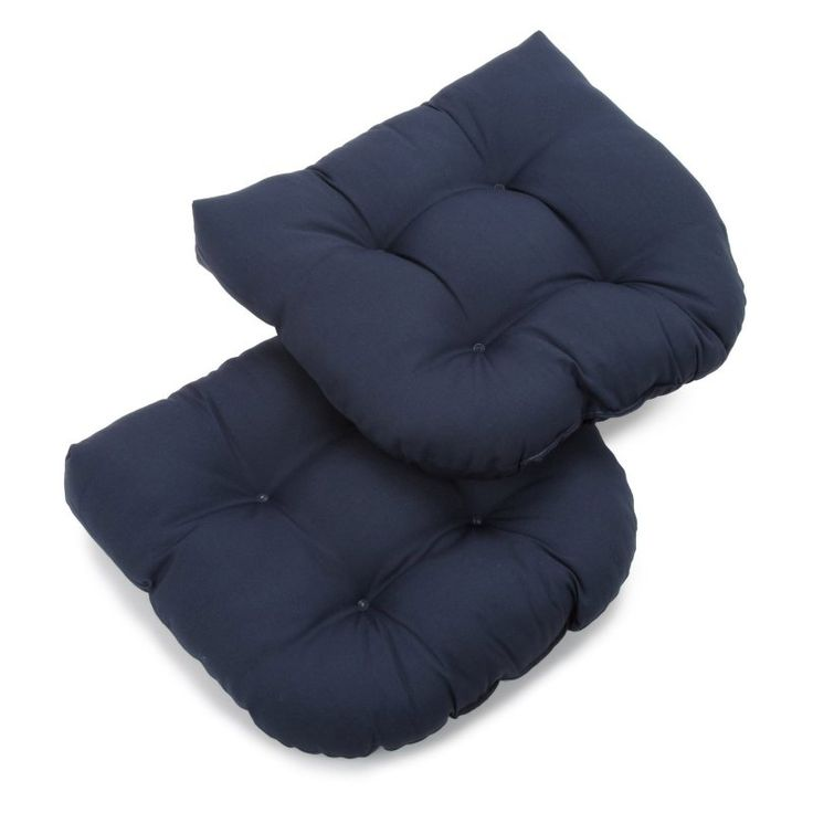 Blazing Needles Twill U-Shaped Indoor Chair Cushion - Set of 2 Navy - 93184-2CH-TW-NV