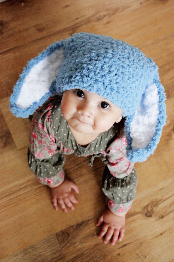 Infant bunny beanie hat Easter Costume in blue and white. Handmade with love by Babamoon - Size 3 to 6m - Can be made in sizes Preemie to Adult and other colours on request!