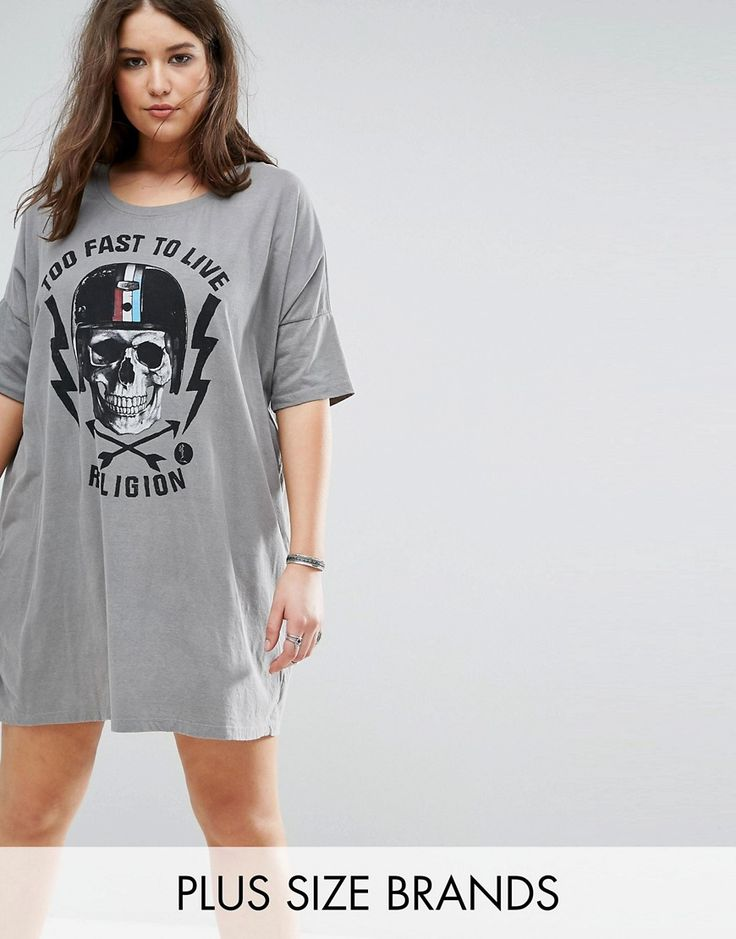 Religion Plus Too Fast Print Tshirt Dress - Grey. Plus-size dress by  Religion Plus, Soft-touch jersey, Printed design, Scoop neck, Dropped  shoulders, ...
