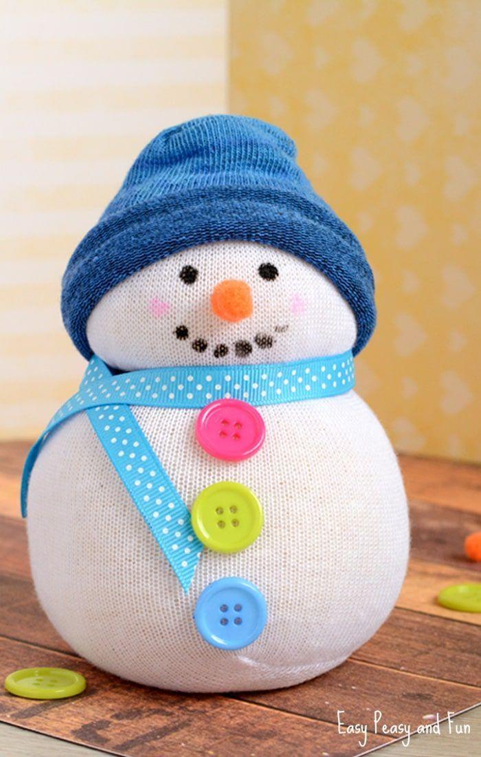 No-Sew Sock Snowman Craft for Kids