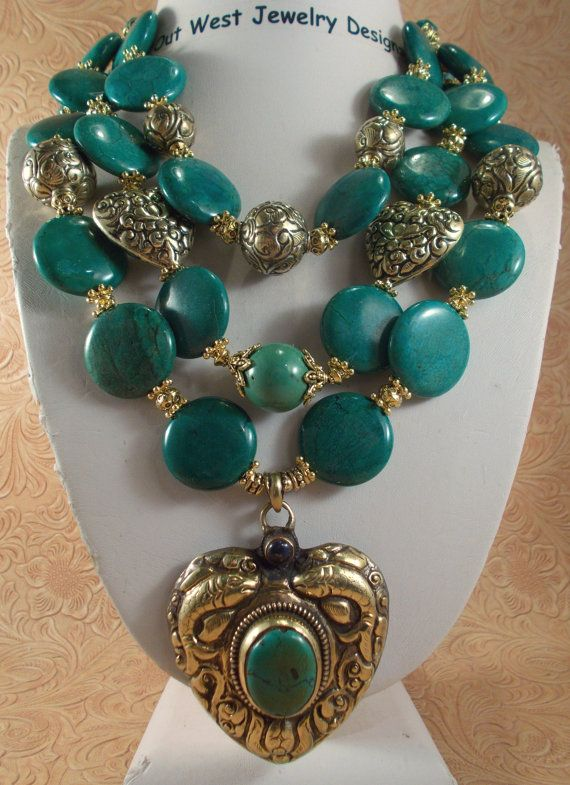 Cowgirl Necklace Set - Three Chunky Strands of Teal Green Turquoise with handmade brass repousse beads and a matching handmade brass heart pendant by Outwestjewelry