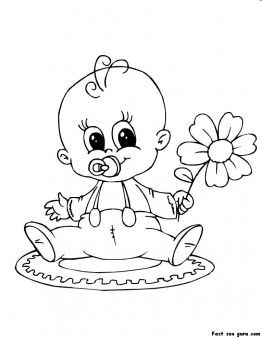 Print out baby playing with flower coloring page - Printable Coloring Pages For Kids