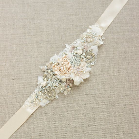 Bridal sash Wedding dress belt Narrow waist Beige by LeFlowers