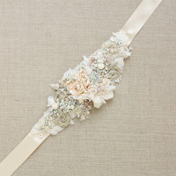 Champagne belt sash Floral belt sash Lace belt sash by LeFlowers