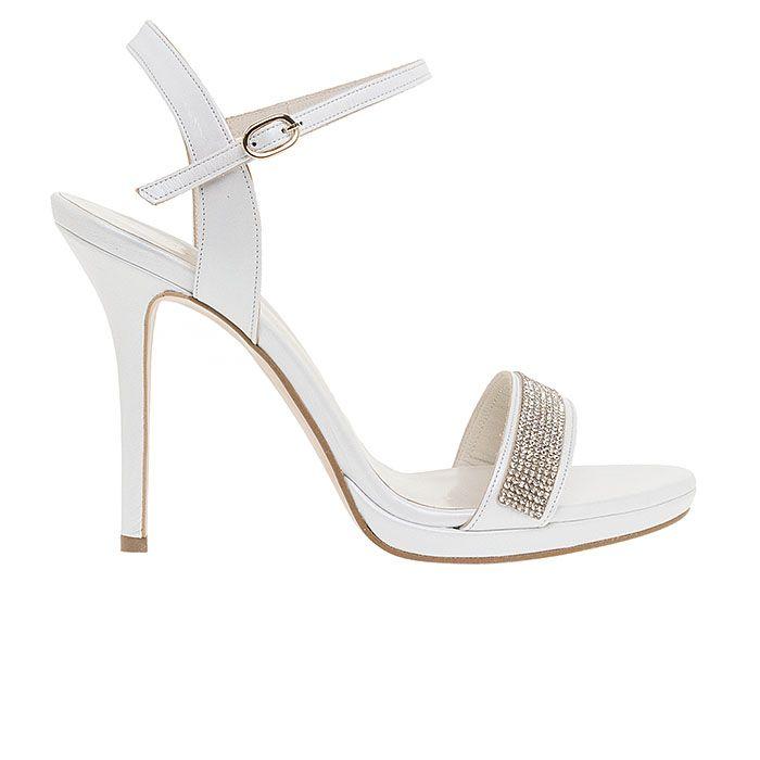 1008B31-WHITE LEATHERwww.mourtzi.com #sandals #heels #mourtzi #bridal #weddingshoes #bride
