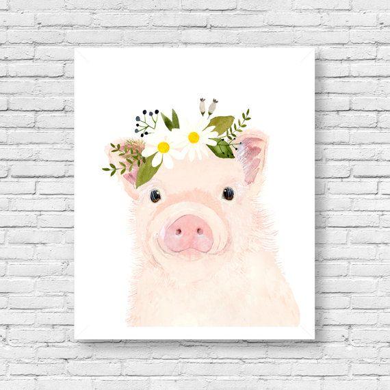 Watercolor baby pig,  nursery art, Animal Paintings,  farm animals, watercolor animal, kids posters, prints, nursery farm animals