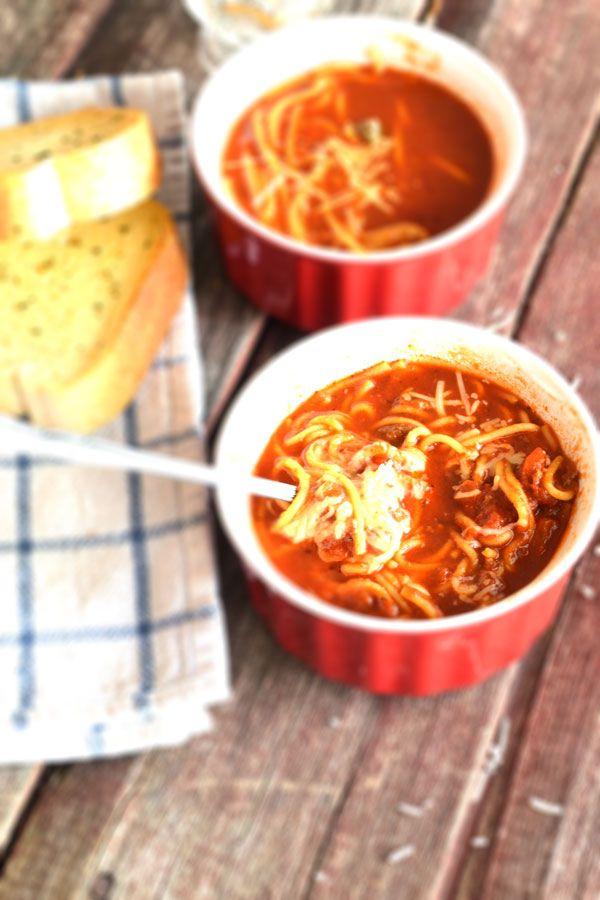 Spaghetti Soup Recipe | http://skinnyover40.com/spaghetti-soup-recipe/