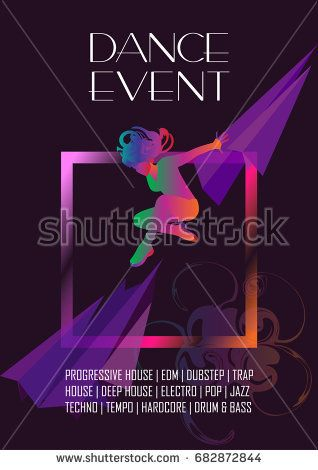 Dance Electronic music Hard Summer Dance Event, Pop, Modern Art festival poster. Night Club Disco party. Woman dancer Abstract music flyer. Woman dancing. Dynamic geometric hip hop, neon lights Vector