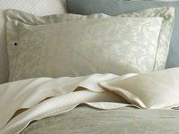 Mist Blue and Ivory Damask Bedding - Peacock Alley Marcella