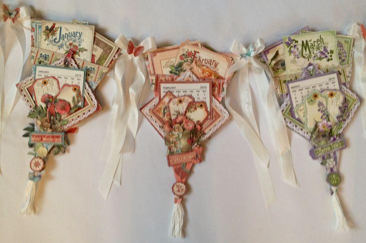 annes papercreations: Graphic 45 Time to Flourish banner mini album calendar part 2