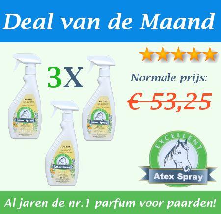 Deze Atex vliegen- en dazen spray is al jaren als beste getest en werkt op alle paarden. De vliegenspray houdt de vliegen en dazen op afstand zodat u ongestoord kan rijden tijdens een buitenrit of wedstrijd.   Atex Spray werkt 6-14 uur! Al jaren de nr. 1 parfum voor paarden!  De voordeligste online koop!  3 flacons à 500 ml Normaal: € 53,25 Nu € 39,95! Op=op  http://happyhorsedeal.nl/deal-van-de-maand.html