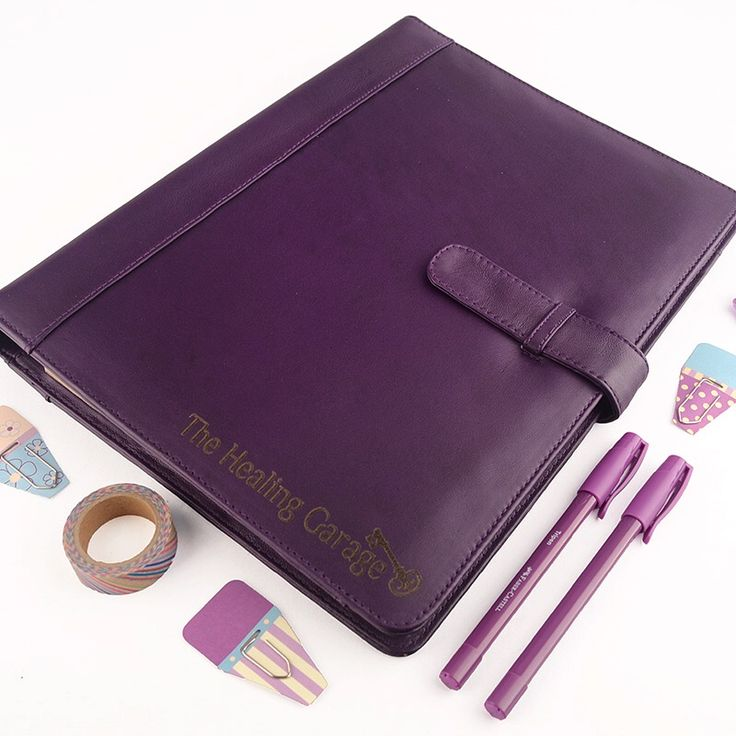 Our Classic A5 Ring Binder in purple, personalized for the folks at The Healing Garage in Minneapolis, USA. ••✿••