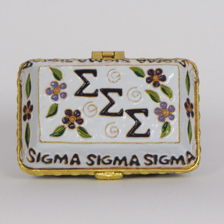 Officially licensed Sigma Sigma Sigma, handcrafted, 24k gold plated cloisonne - www.KittyKeller.com