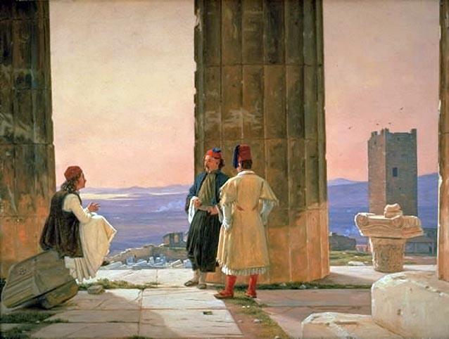 """""""Συζήτηση στον Παρθενώνα"""" του Martinus Rørbye, 1844. Εθνική Πινακοθήκη Δανίας."""